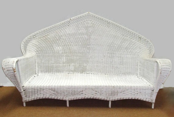 Vente rotin vintage sofa en osier 76 fan boh me retour for Canape en osier ou rotin