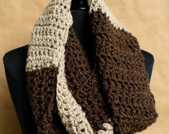 Chunky Infinity Scarf in Brown and Taupe - Chunky Infinity Scarf - Womens Crochet Infinity - Winter Scarf - Chunky Scarf - Crochet Scarf