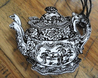 Handmade English Teapot Gift Tags Set of 4