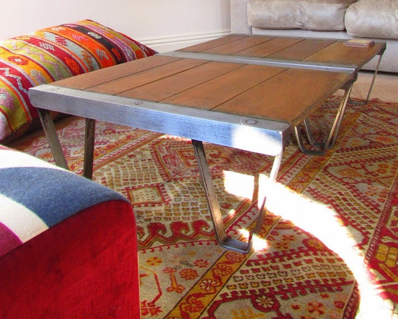 Vintage industrial hand crafted coffee table by for Coffee table 80 x 50