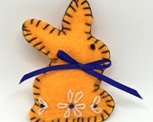 RESERVED for Cathy- Custom Orange Bunny with Navy Blue Ribbon