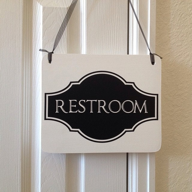 Restroom Sign For Business Cute Single Sided Hanging Wood