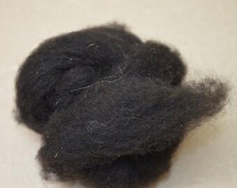 black, charcoal Navajo Churro wool roving, spin, felt, weave