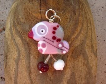 Sweetie - the  Lucky Bird Lampwork Glass Pendant Sterling Silver