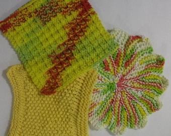 Sunny Days Hand Knit Dish Cloth Set
