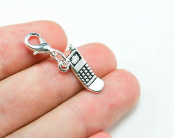 Cell Phone Charm. Telephone Charm for Girlfriends. Silver Clip On Charm. SCC252
