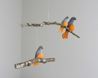 Bird Mobile - American Robin Mother and Baby Birds on natural tree branches - Made to order