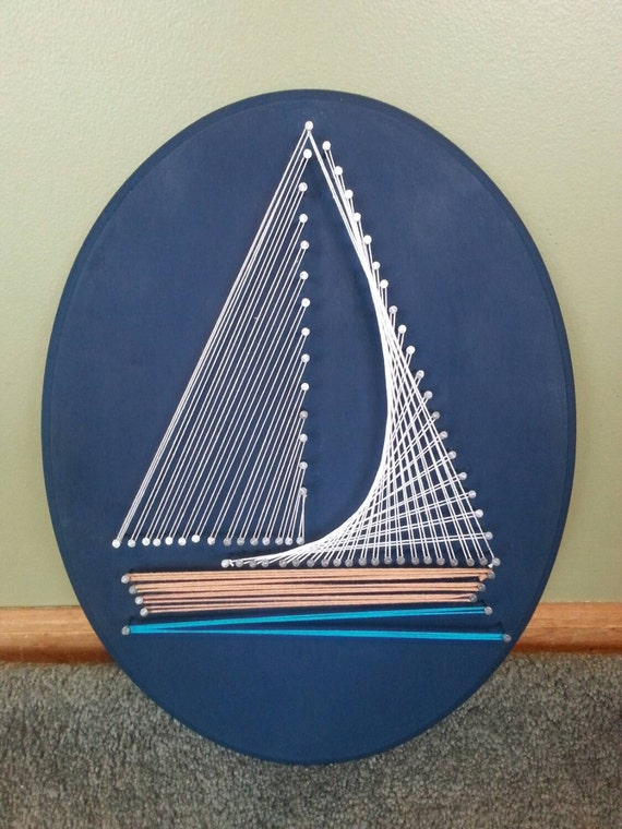 Blue Nautical String Lights : Nautical Sailboat String Art on a Navy Blue Oval Plaque