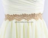 Gold Leaf Lace Satin Ribbon Sash, Bridal Gold Lace Sash, Bridesmaid Gold Sash,Flower Girl Sash
