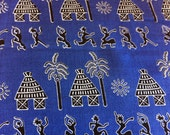 Blue, Black and White African Village Print--African Print Fabric by the HALF YARD----Made in Mali