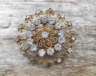 "Vintage Rhinestone Brooch, Circular with Curly Bronze Wire, 1 5/8"" (4 cm) diameter, Mandala"