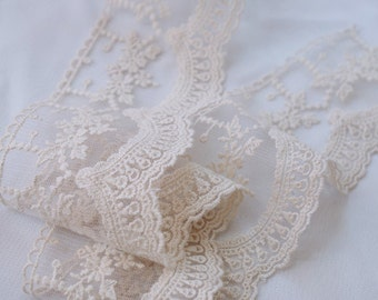 cream Cotton Lace trim, ivory embroidered lace trim  WSCX016M