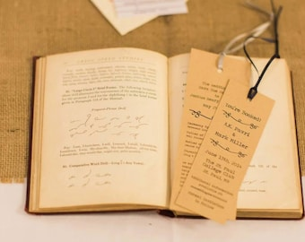 Literary Wedding Bookmark Save the Dates (set of 20)