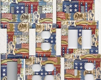 American Flag Vintage Icons Patriotic Light Switchplates and Wall Outlet Covers Home Decor Accents