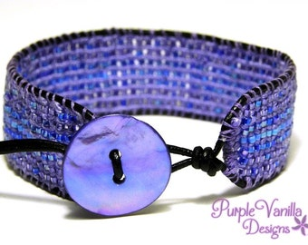 Purple Beaded Macrame Bracelet, Micro macrame Button Bracelet, Knotted Cuff Bracelet with Seed Beads, Leather Cord & Mother of Pearl Button