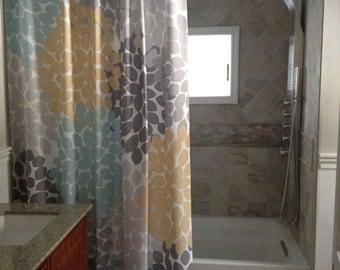 Shower Curtain Blue Brown Storefront Inspired Floral Standard