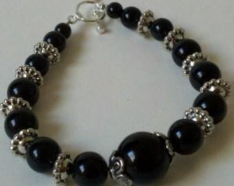 Midnight Bracelet Black and Silver Bracelet Round Bead Bracelet Toggle Clasp Bracelet  Black Ball Bead Bracelet Goth