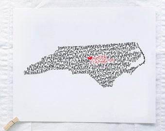 North Carolina Illustration Print