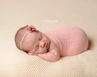 Baby pink flower headband photo prop headband Newborn Photography Prop