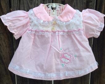 VTG Mayfair Baby Dress Pink Butterfly Lace Sz 0-3M Rosebuds