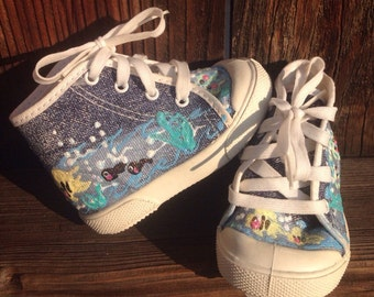 VTG Pitter Patter Baby Shoes Hand Painted Sz 1 Infant Sea Life