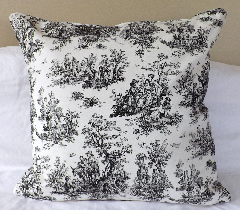 SALE 100 Cotton Home Decor Fabric Black White Toile French