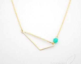 Simple Geometric, Triangle Pendant with a Minty Aqua Rhondelle, Art Deco, Necklace