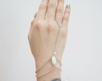 Frosted White Crystal, Smooth Oval White Jade, Gypsy, Finger Chain Gypsy Gladiators Bracelet Hand Bracelet Finger Bracelet Slave Bracelet