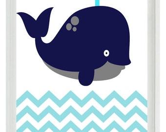 Whale Chevron Wall Art Print  - Navy Blue Aqua- Nautical Nursery Children Room Home Decor ()  Prints