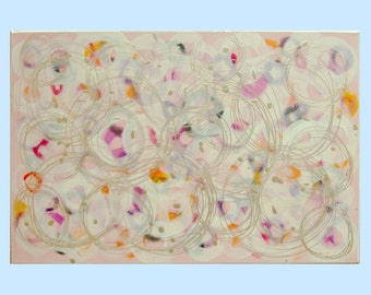 """Painting Acrylic Painting  Handmade Painting Abstract Painting Wall Art Painting   by M.Schöneberg   """"Colorful Circles""""24x16x0,75  Wall art"""