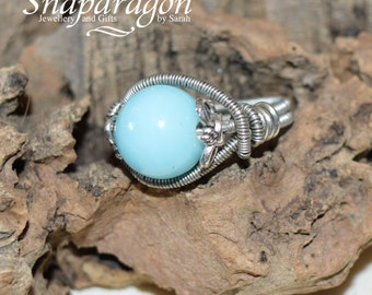 Pretty blue glass turquoise coloured stone, wire wrapped ring, size UK 0 / US 7.5