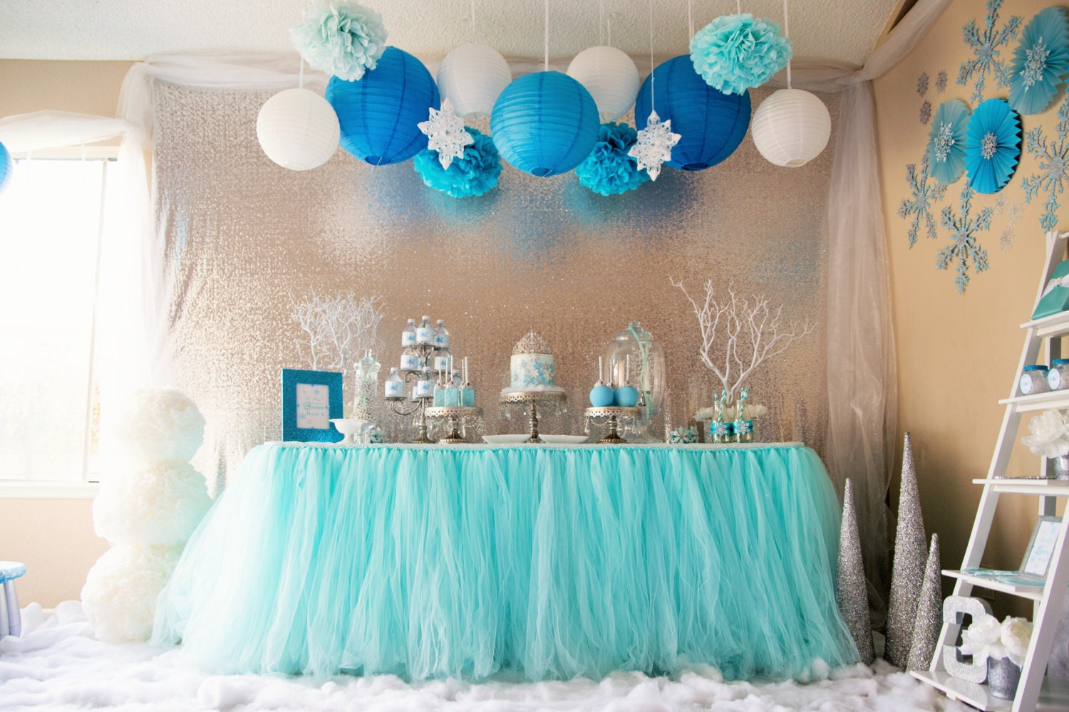 Buffet table skirting - Aqua Blue Tutu Table Skirt