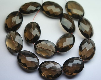 7 Inch Strand,AAA Quality Natural Smoky Quartz Micro Faceted Oval Shape Briolettes,12x16mm