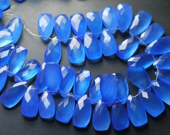 5 Matched Pairs,Sky Blue Chalcedony Faceted Pyramid Shaped Briolettes,8x15mm