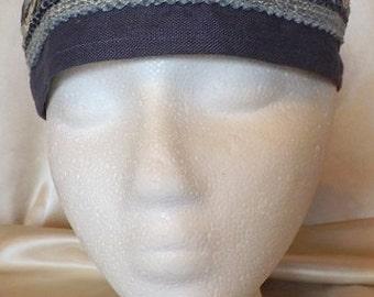 349 Navy Blue 100% Linen Migba'ah Turban Cap for Men