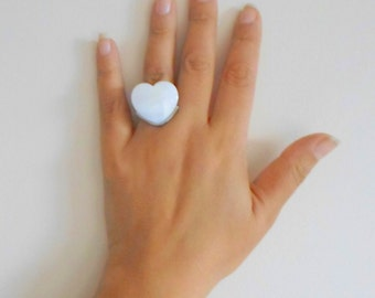 LAST1 Heart ring, mother of pearl ring heart ring adjustable ring, white heart ring, silver plated ring, christmas gift, gift for her.
