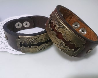 Leather Bracelet, Genuine leather bracelet for men, unique men bracelet, Men's Black Leather Cuff with Skulls and hatchet, razor blade cuff