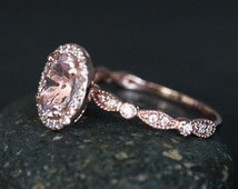 Morganite 14k Rose Gold Engagement Ring with Morganite Oval 8x6mm and Diamond Halo