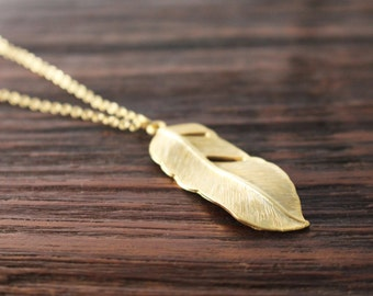 SALE: Feather necklace // Gold feather necklace // Long feather necklace