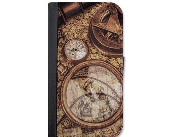 Vintage Nautical Map Wallet Case. Choose Samsung Galaxy S3, S4, S5, S6, S6 Edge, S7, S7 Edge, S8 or galaxy S8 Plus.
