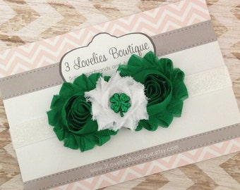 St. Patricks Day Headband..Newborn Headband..Baby Girl Headband..Headband..Infant Headband..Baby Headband.Flower Headband