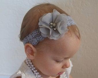 Grey Baby Headband..Newborn Headband..Baby Girl Headband..Headband..Infant Headband..Baby Headband..Baby Headbands