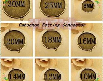 25pcs Antique Bronze Round Cabochon Setting Connector Charm-Pick your size