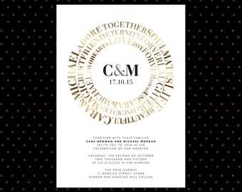 Wedding Invite – Words of Love Modern Printable Wedding Invitation Suite