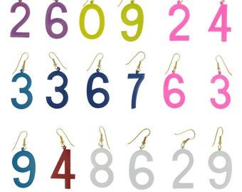 Vintage 1970s Lucky Numbers Earrings Choose Numbers