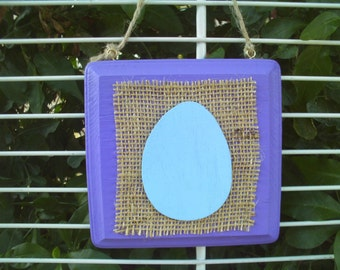 Easter Egg Square Wall Hanging Plaque Blue/Purple