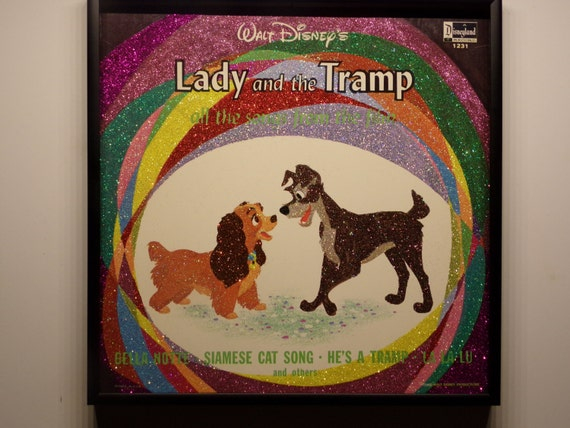 Glittered Record Album - Lady and the Tramp - Disney