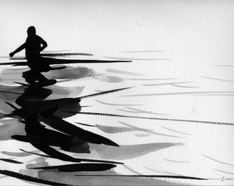 "Figure Water Ink Drawing Gothic Dark Shadow Silhouette Fine Art ""Immersion No. 50"""