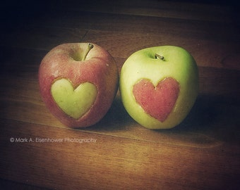 Fruit Pictures, Country Kitchen Decor, Kitchen Food Apple Red Heart Green Art Photograph Vintage 8x10 Food Photography