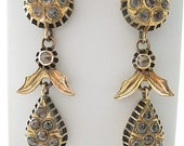 Antique Rose Cut DIAMOND Gold Earrings, Antique Jewelry